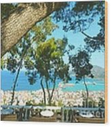 Cafe Terrace At Bohali Overlooking Zante Town Wood Print