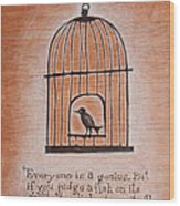 Caged Genius Wood Print by Canis Canon