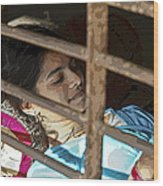 Caged Indian Beauty Wood Print