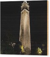 Cal Sather Tower Lights Up The Night Wood Print by Replay Photos