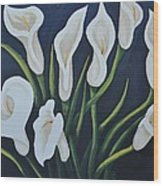 Cala Lilies Wood Print by Holly Donohoe
