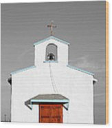 Calera Mission Chapel Facade In West Texas Color Splash Black And White Wood Print