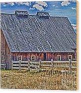 Calgary Barn Hdr Wood Print