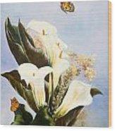 Callas And Butterflies Wood Print