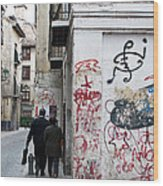 Calle Alvaro De Bazan Graffiti Wood Print