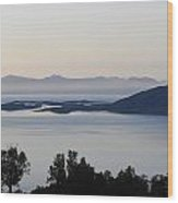 Calm Sea At Sunset In A Fjord In Northern Norway Wood Print