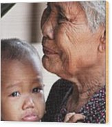Cambodian Grandmother And Baby #1 Wood Print