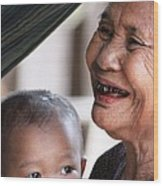 Cambodian Grandmother And Baby #2 Wood Print