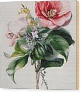 Camellia And Broom Wood Print by Marie-Anne