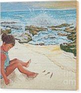 Camila And The Carribean Sea Wood Print