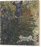 Camille And Jean In The Garden At Argenteuil  Wood Print