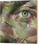 Camouflage Warrior Wood Print