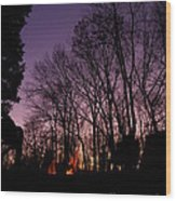 Camp Fire Sunset Wood Print