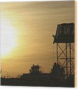 Camp Warhorse Guard Tower At Sunset Wood Print