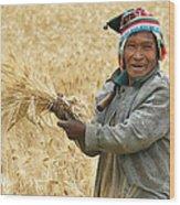 campesino cutting wheat. Republic of Bolivia. Wood Print