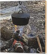 Campfire Cooking Wood Print by David Lee Thompson
