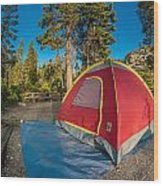 Camping In The Forest Wood Print