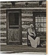Canadian Gothic Sepia Wood Print