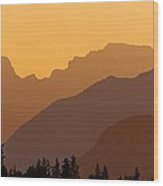 Canadian Rockies At Sunset Wood Print