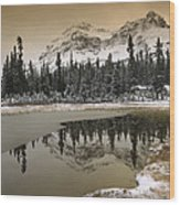 Canadian Rocky Mountains Dusted In Snow Wood Print