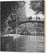 Canal Of St. Martin Bw Wood Print