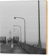 Canal Park Lighthouse In Fog Wood Print