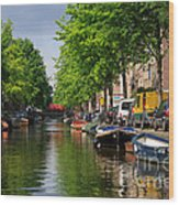 Canal Scene In Amsterdam Wood Print