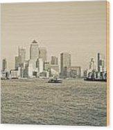 Canary Wharf Cityscape Wood Print