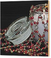 Candle And Beads Wood Print by Carolyn Marshall