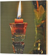 Candle And Colored Glass Wood Print