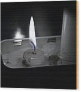 Candle Flame Wood Print
