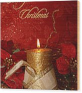 Candle Light Christmas Card Wood Print