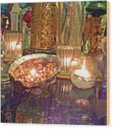 Candle Light Reflections  Wood Print