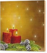 Candles Decorated Branches Of A Pine Tree And Fir Cones Wood Print