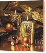 Candles Light In Sparkling Gold  Wood Print