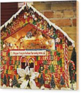 Candy Gingerbread House Wood Print