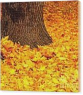 Candycorn Leaves Wood Print
