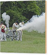 Cannon Fire Wood Print
