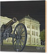 Cannon In Front Of The Texas State Capitol In Austin Wood Print