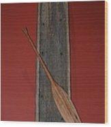 Canoe And Oar Wood Print