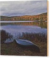 Canoe At Black Lake Wood Print
