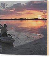 Canoe At Sunset Wood Print