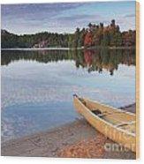 Canoe On A Shore Autumn Nature Scenery Wood Print