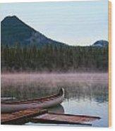 Canoe Waiting Jasper National Park Wood Print