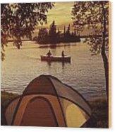 Canoeing At Otter Falls, Whiteshell Wood Print