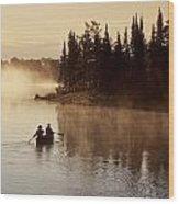 Canoeing On Winnipeg River, Pinawa Wood Print
