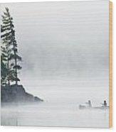 Canoeing Through Fog On Lake Of Two Wood Print