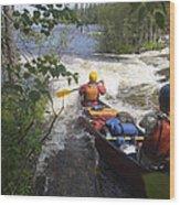 Canoeists Run A Rapid On The Winisk Wood Print