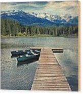 Canoes At Dock On Mountain Lake Wood Print by Jill Battaglia