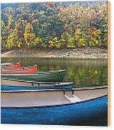 Canoes At Fontana Wood Print